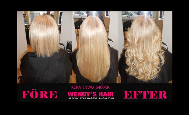 wendys hair, hårförlängning, keratinvax,löshår, hairextensions